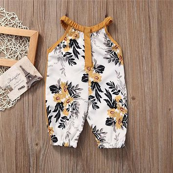 Fashion Newborn Infant Kids Baby Boys Girls Cotton Sleeveless Jumpsuit round neck Clothes Outfit One-pieces