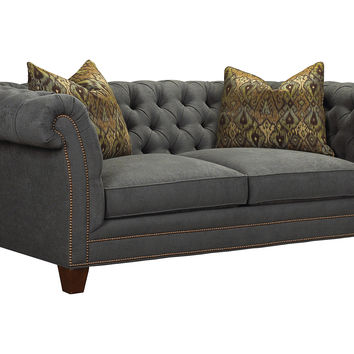 "Jules 90"" Tufted Sofa, Pewter, Sofas & Loveseats"