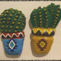 Southwestern Cacti Pot Polymer Magnets