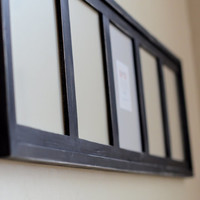 Black Multi Opening Collage Picture Frame -  Distressed 5 Hole 8x10's in Portrait Position  - black or choose your color