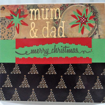 Christmas Card Mum & Dad - Handmade Cards - Merry Christmas Cards - Seasons Greeting cards - Made in Australia - unique cards - Hand made