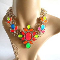 Colorful Flower Bubble Necklace,Mint J.Crew Inspired Bubble Necklace With Gold Tone Chain Bib Necklace Statement Necklace