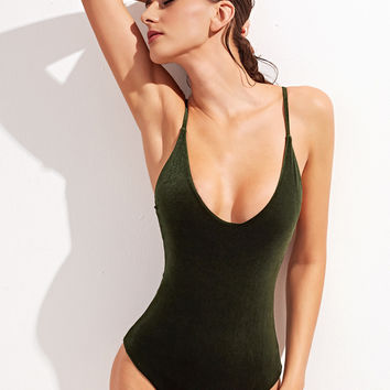 Dark Green Criss Cross Back V-Neck Velvet Swimwear