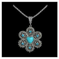 Crystal Turquoise Flower Antique Silver Pendant Necklace