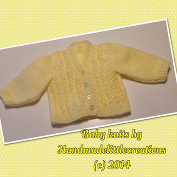 """Handknitted Baby Cardigan in Lemon - It's a Girl! 14"""" chest, Handknitted Baby Clothes, Baby Girl, Handknitted, Newborn, Reborn Doll, Clothes"""