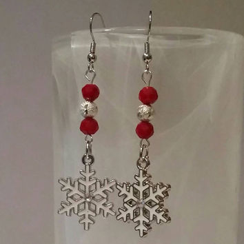 Guitar Pick Jewelry by Betsy's Jewelry - Earrings - Christmas Jewelry  - Snowflake - Winter Lover - Holiday Styles