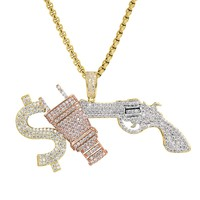 Custom Multi Color Iced Out Money Respect Pendant Chain