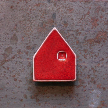 Ceramic mini house magnet, set of three modern magnets, many colors available