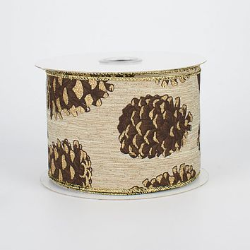 """Glittered Pinecones on Canvas Ribbon 2.5"""" x 10 yards"""