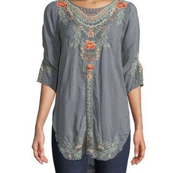 Johnny Was Cloudburst Olive Blossom Tunic