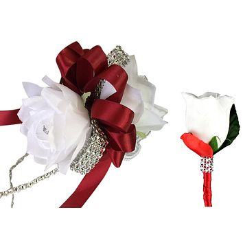 Set: White Roses with Apple Red Ribbon Wrist corsage and Boutonniere
