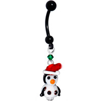 Handcrafted Genuine HOLIDAY PENGUIN Black Titanium Belly Ring MADE WITH SWAROVSKI ELEMENTS | Body Candy Body Jewelry