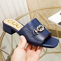 GUCCI Fashion New leather slippersshoes flip flop women Blue