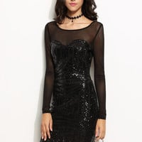 Black Mesh Sleeve Open Back Geometric Sequin Dress