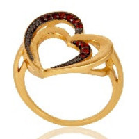 Garnet 18K Gold Plated Heart Shape Sterling Silver Ring Love Jewelry