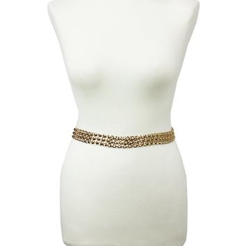 Women Fashion Hip High Waist Gold Metal Adjustable Chain Belt