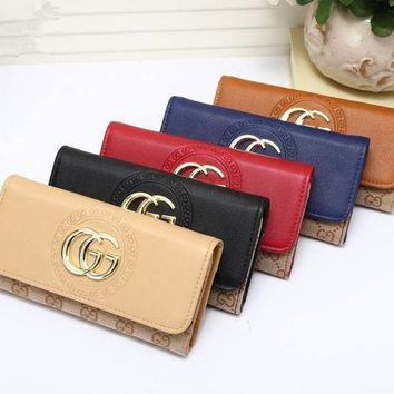 DCCK6HW Gucci' Women Purse Fashion Multicolor Double GG Logo Button Long Section Three Fold Wallet Handbag