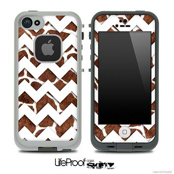 Real Giraffe and White Chevron Pattern Skin for the iPhone 5 or 4/4s LifeProof Case