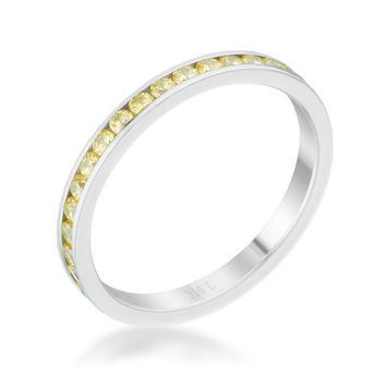 Teresa Jonquil Yellow Silver Eternity Stackable Ring | 1ct | Cubic Zirconia | Stainless Steel