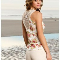 FLORAL TANK WITH CROCHET RACERBACK