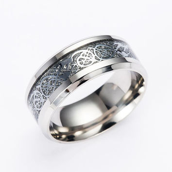 Gaxybb New Jewelry 316L Stainless Steel Dragon Ring Mens Wedding Band Ring Male Jewelry for lovers of high quality ring