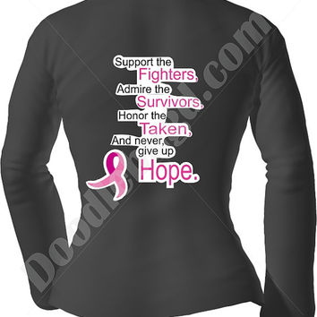 Support Breast Cancer Awareness pink/black/white unisex adult Long Sleeve Shirt, pink ribbon, support gift idea her, fundraiser walk idea