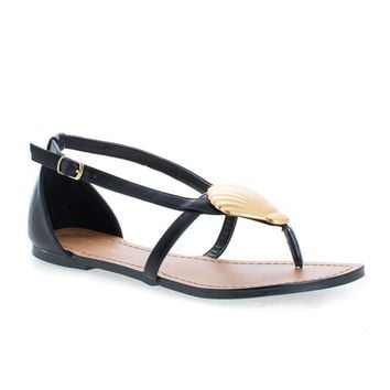 Mermaid Black Pu By Shoe Republic, Gold Plated Shell Thong Slip On Flat Sandals