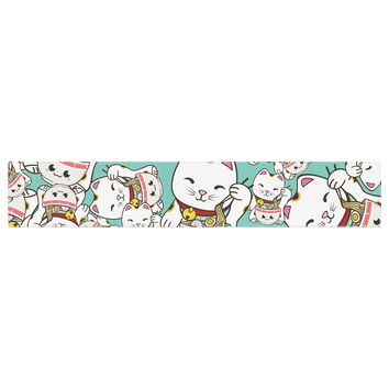 "Juan Paolo ""Ramen Cats"" Teal White Table Runner"