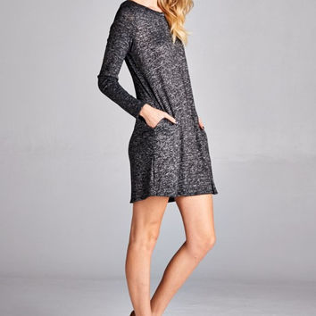 Charcoal Melange Knit with Back Button Detail Tunic Sweater
