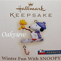 Hallmark 2006 Winter Fun With Snoopy #9 Woodstock Fishing Miniature Peanuts