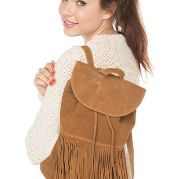 Brandy ♥ Melville |  Suede Fringe Backpack - Just In