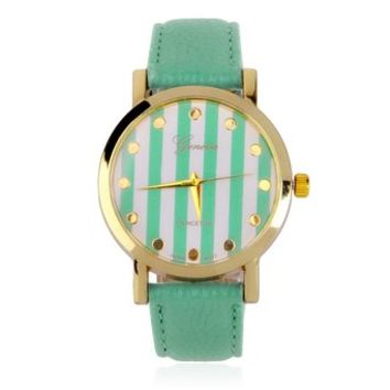 Women's Mint Green Striped Round Face Faux Leather Band Quartz Watch