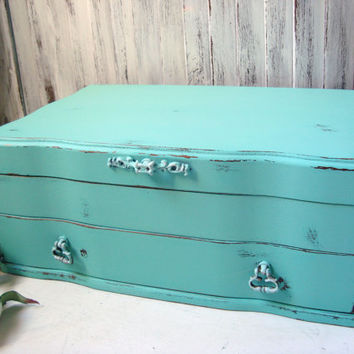 Aqua Vintage Jewelry Box, Teal Wooden Jewelry Holder, Distressed Jewelry Chest, Beach Cottage, Shabby Chic, Gift Ideas