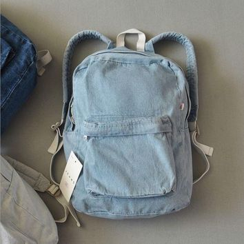 Retro Denim Simple Canvas School Satchel Shoulder Bag Backpack