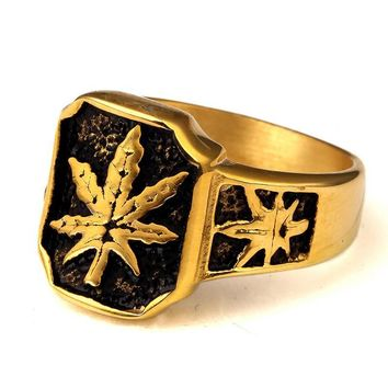Jewelry Stylish New Arrival Gift Shiny Leaf Hip-hop Accessory High Quality Stainless Steel Ring [10210220547]