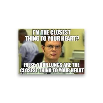 False: I'm the closest thing to your heart? Dwight Schrute Magnet - Michael Scott Magnet - The Office TV Show Magnet - Dwight Schrute Magnet