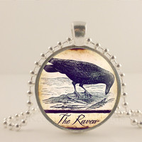 """The Raven, black bird. 1"""" glass and metal Pendant necklace Jewelry."""