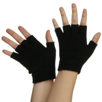 Black Fingerless Gloves Pair Legends Of The Hidden Temple Costume Accessory New