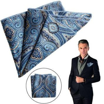 Men Pocket Square Handkerchief Satin Solid Floral Paisley Floral Hanky For Party