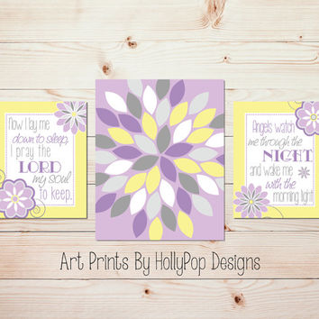 Baby Girl Nursery Decor Lavender Yellow Gray Nursery Wall Art Toddler Girls Room Wall Decor Now I Lay Me Down Childrens Bedtime Prayer #0840