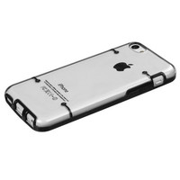 Hybrid Tentacles Gummy Cover Case for Apple iPhone 5C - Clear/Black