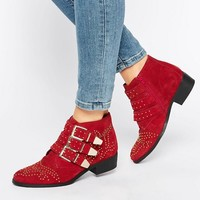 Office Alloy Stud Red Suede Ankle Boots at asos.com