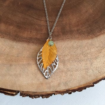 Skeletal Leaf Necklace, Leaf Charm Necklace, Spring Necklace, Orange, Silver, Mint Green, Womens Necklace, 22 Inch Necklace