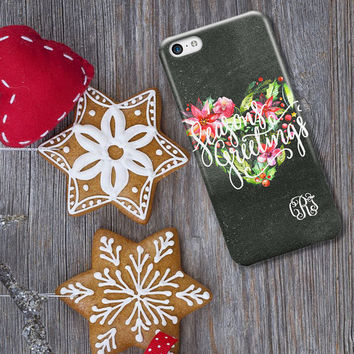 Chalkboard Iphone 6 case - Christmas heart wreath watercolor - Seasons Greetings - Xmas Iphone 6s Plus case (1606)