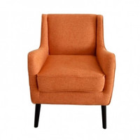Orange Fabric Accent Chair with Birch Wood Legs (Single)
