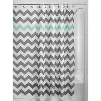 Grey Aqua Blue White Chevron Polyester Fabric 72 Inch Shower Curtain