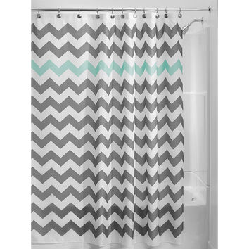 Wonderful Grey Aqua Blue White Chevron Polyester Fabric 72 Inch Shower Cur
