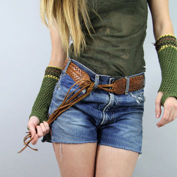 Hippie 70s LEATHER Woven Belt GLADIATOR // Vintage Clothing by TatiTati Vintage on Etsy