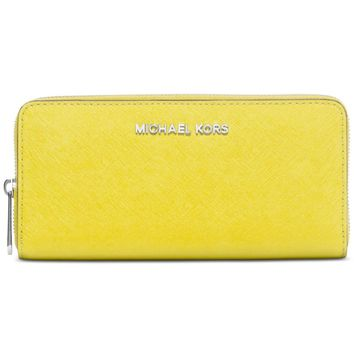 NWT Michael Kors Jet Set Zip Continental Leather Wallet CANARY LIME Yellow $138+