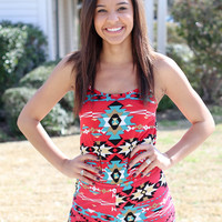Never Say Never Romper - Red Aztec